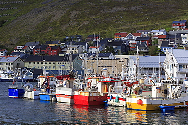 Fishing boats, Honningsvag Town, Mageroya Island, Finnmark County, Norway, Scandinavia, Europe