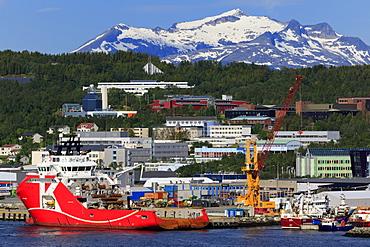 Oil rig supply ship, Tromso City, Tromsoya Island, Troms County, Norway, Scandinavia, Europe