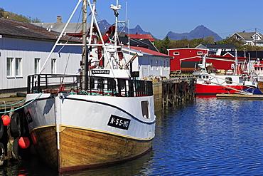 Fish factory, Ballstad Fishing Village, Lofoten Islands, Nordland County, Arctic, Norway, Scandinavia, Europe