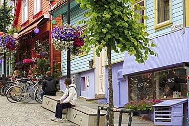 Colorful buildings on Ovr Holmegata, Stavanger City, Ragoland County, Norway, Scandinavia, Europe