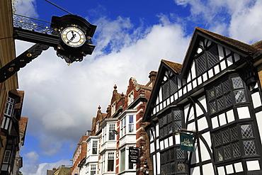 Clock on High Street, Winchester, Hampshire, England, United Kingdom, Europe