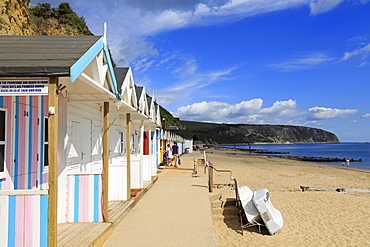 Beach huts, Swanage Town, Isle of Purbeck, Dorset, England, United Kingdom, Europe