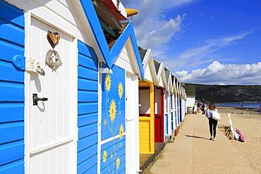 Beach huts, Swanage Town, Isle of Purbeck, Dorset, England, United Kingdom, Europe