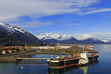 Fuel barge and tugboat, Valdez, Prince William Sound, Alaska, United States of America, North America