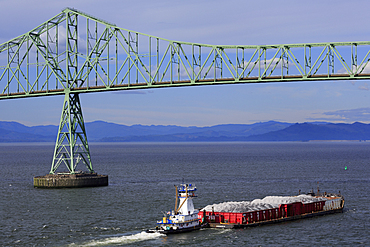 Astoria Bridge and Barge, Astoria, Oregon, United States of America, North America
