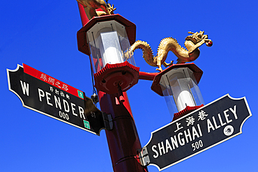 Street light in Chinatown, Vancouver City, British Columbia, Canada, North America