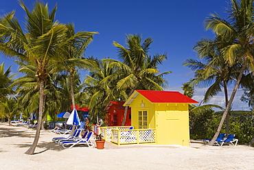 Beach cabana, Princess Cays, Eleuthera Island, Bahamas, West Indies, Central America