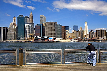 Lower Manhattan viewed from Fulton Ferry Landing, Dumbo District, Brooklyn, New York City, New York, United States of America, North America