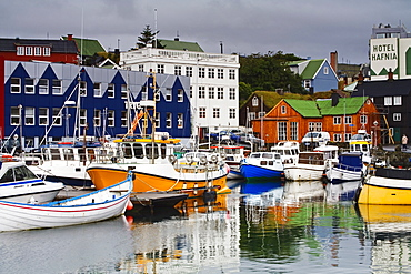 Small boat harbor, Port of Torshavn, Faroe Islands (Faeroes), Kingdom of Denmark, Europe