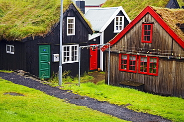 Sod roof houses in historic Tinganes district, City of Torshavn, Faroe Islands, Kingdom of Denmark, Europe