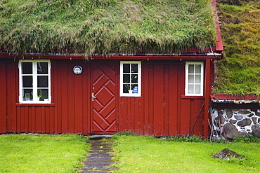 Sod roof building in historic Tinganes district, City of Torshavn, Faroe Islands, Kingdom of Denmark, Europe