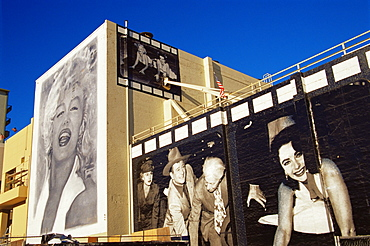 Mural on Mann's Chinese Theater, Hollywood, Los Angeles, California, United States of America, North America