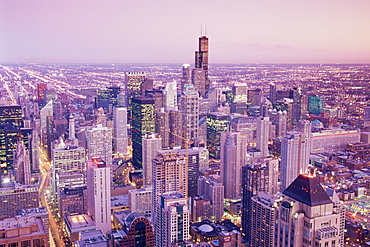 View over city from Hancock Tower Observation Deck, Chicago, Illinois, United States of America, North America