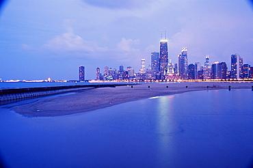 North Avenue Beach and Hancock Tower, Chicago, Illinois, United States of America, North America