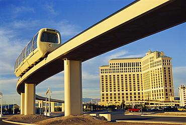 Monorail  between the Monte Carlo and Bellagio Hotels, Las Vegas, Nevada, United States of America, North America