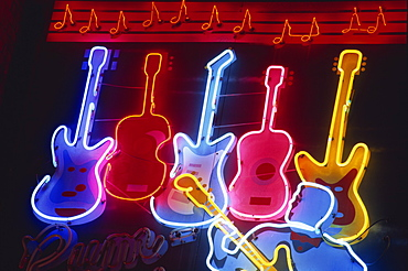 Neon signs on Beale Street, Memphis, Tennessee, United States of America, North America