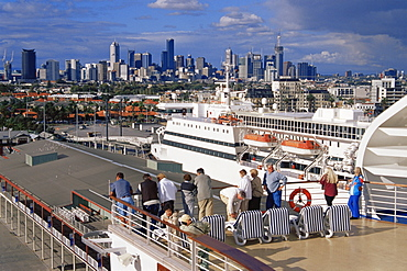 View of city from cruise ship, Station Pier, Melbourne, Victoria, Australia, Pacific