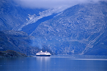 Cruise ship in John Hopkins Inlet, Glacier Bay National Park, Alaska, United States of America, North America