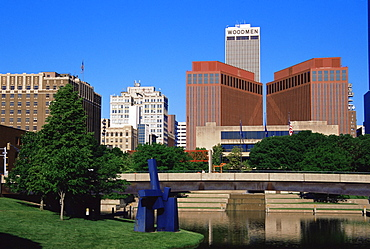 City skyline from Gene Leahy Mall, Omaha, Nebraska, United States of America, North America
