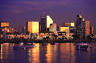 City skyline at sunst, from Harbor Island, San Diego, California, United States of America, North America