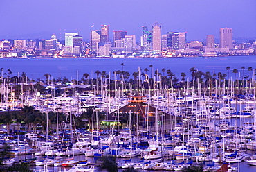 City skyline from Point Loma, San Diego, California, United States of America, North America