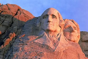 George Washington on left, and Jefferson, Mount Rushmore National Park, Black Hills, South Dakota, United States of America, North America