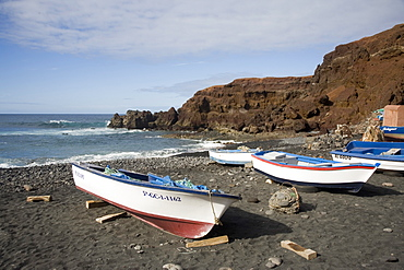 Beach at El Golfo Fishing Village, Lanzarote, Canary Islands, Spain, Atlantic, Europe