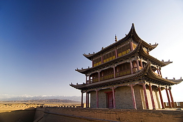 Six hundred year old tower, Jiayuguan Fort, Jiayuguan, Gansu, China, Asia