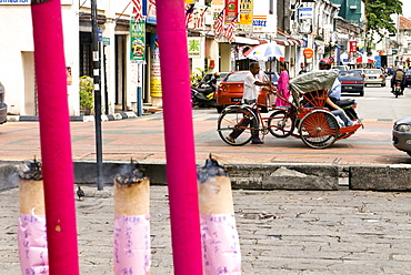 Trishaw and incense, Georgetown, Penang, Malaysia, Southeast Asia, Asia