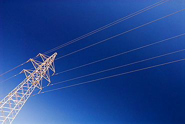 Electricity pylon against blue sky, Dunhuang, Gansu, China, Asia
