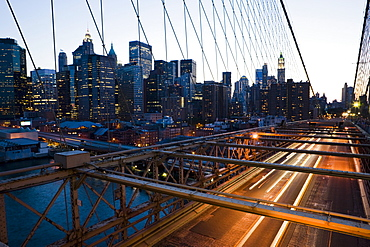 Brooklyn Bridge in the evening,  Manhattan, New York, United States of America, North America