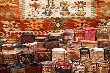 Traditional Turkish rugs for sale, Grand Bazaar (Great Bazaar), Istanbul, Turkey, Europe