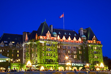 The Empress Hotel at night, Victoria, Vancouver Island, British Columbia, Canada, North America