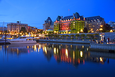 Inner Harbour with the Empress Hotel at night, Victoria, Vancouver Island, British Columbia, Canada, North America