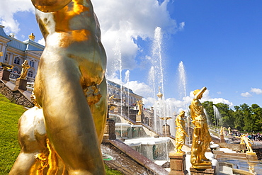 Golden statues and fountains of the Grand Cascade at Peterhof Palace, St. Petersburg, Russia, Europe