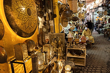 Shop selling traditional metal lamps and trays in the souks, Marrakech, Morocco, North Africa, Africa