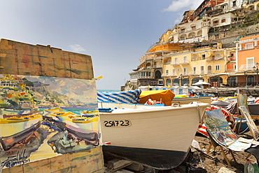 Water colour painting of traditional fishing boats and the colourful town of Positano on the Amalfi Coast. UNESCO World Heritage Site, Campania, Italy, Europe