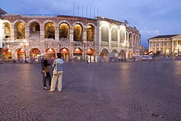 Piazza Bra, Roman Arena at dusk, Verona, Veneto, Italy, Europe