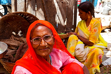 Two ladies in traditional dress in a street market in the city of Udaipur, Rajasthan, India, Asia