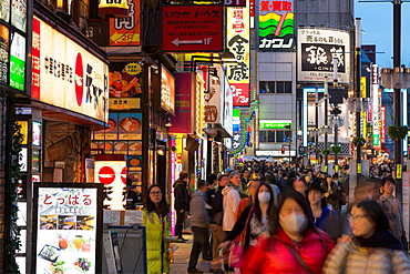A crowded street at night in the Ginza district of Tokyo, Japan, Asia