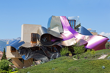 The striking hotel at Marques de Riscal Bodega, designed by Frank Gehry, near Elciego, La Rioja, Spain, Europe