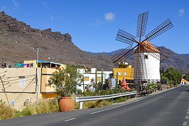 Traditional restored windmill, Molino de Viento, in Barranco de Mogan, near the village of Mogan, Gran Canaria, Canary Islands, Spain, Atlantic, Europe