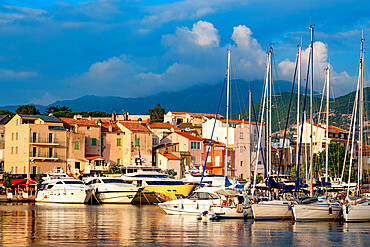 Boats moored in the small harbour of Saint Florent in northern Corsica
