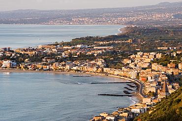 Coast and Giardini Naxos in morning light, Sicily, Italy, Mediterranean, Europe