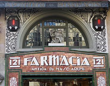 Farmacia Sign, Barcelona, Catalonia, Spain, Europe