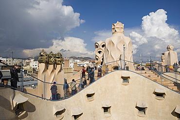 Chimneys and rooftop, Casa Mila, La Pedrera, Barcelona, Catalonia, Spain, Europe
