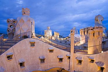 Chimneys and rooftop, Casa Mila, La Pedrera in the evening, Barcelona, Catalonia, Spain, Europe