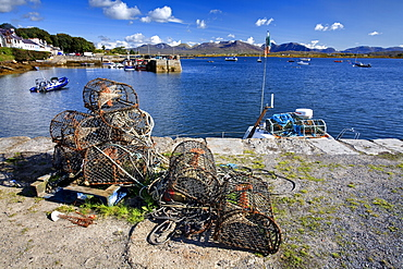 Lobster pots at Roundstone Harbour, Connemara, County Galway, Connacht, Republic of Ireland, Europe