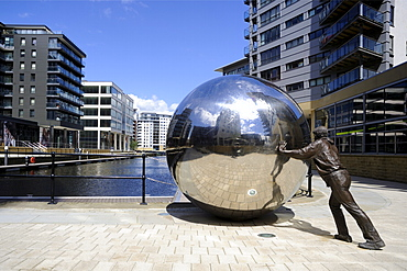 Stainless steel sculpture by Kevin Atherton, Clarence Dock, Leeds, West Yorkshire, England, United Kingdom, Europe