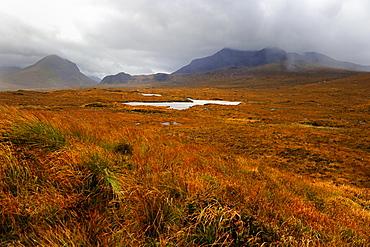 Desolate moorland near Sligachan, Isle of Skye, Inner Hebrides, Scotland, United Kingdom, Europe